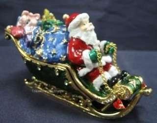 Swarovski Crystal Bejeweled Santa Claus in Sleigh Trinket Box