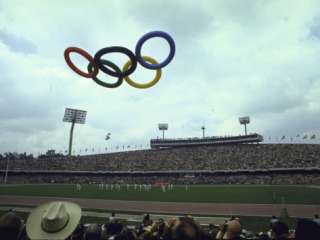 Balloons in the Shape of the Olympic Rings Being Released at the
