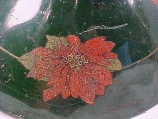 & POINSETTIA FLOWERS on GREEN TIN CHRISTMAS TREE STAND Retro