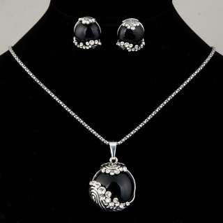 round black agate rhinestone bead chain necklace earrings set