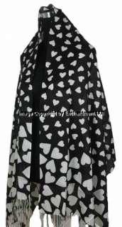 Cashmere Pashmina Heart Pattern Women Scarf Shawl Wrap, Black/White