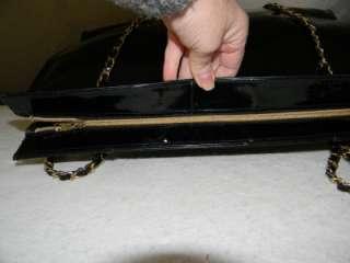 St. John Extra Large Black Patent Leather Tote Bag Handbag Purse w