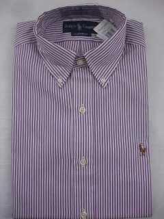 Mens DRESS SHIRT Classic Fit Striped Eggplant Purple White NW