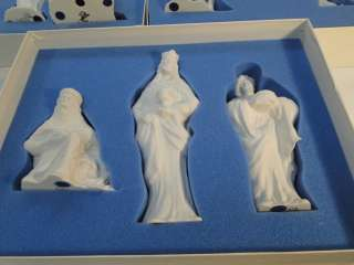 BOEHM 9 PC NATIVITY SET BISQUE PORCELAIN CHINA w BOX COA KINGS ANGEL