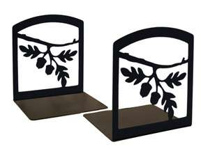 Black Wrought Iron ACORN Bookends Book Shelf Rod Tree