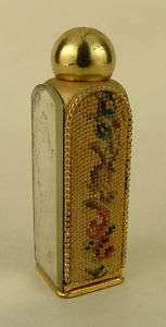 Miniature Gold Tone Petit Point Mirror Perfume Bottle