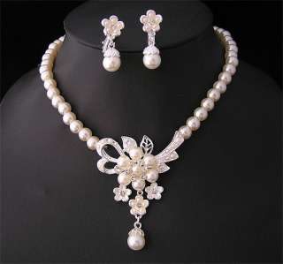 Wedding/Bridal pearl &crystal necklace earring set S219