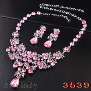 Rhinestone Crystal Beads Prom Bridal Necklace Earrings Jewelry sets