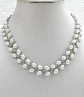 & PEARL NECKLACE & EARRINGS SET FOR BRIDAL WEDDING PROM C257