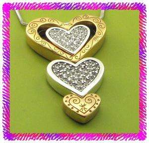 BRIGHTON Silver GOLDEN LOVE HEART Necklace NWtag |