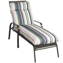 White Stripe Outdoor Patio Chaise Lounge Chair Cushion