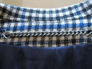 VTG INVERTERE ENGLAND MAN BLUE BLACK PLAID WOOL HOUNDSTOOTH COAT LINED