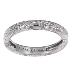 Tacori IV Sterling Silver Cubic Zirconia Engraved Vine Stackable Ring
