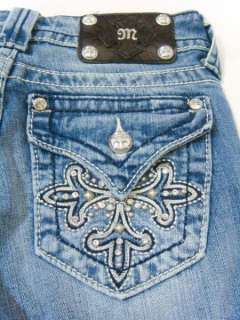 NWT MISS ME Crystals Super Fleur Stitch Bootcut Jeans