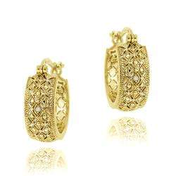 Gold over Silver Diamond Accent Filigree Hoop Earrings