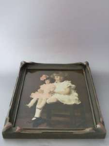 ART NOUVEAU WOOD PICTURE FRAME w PAINTED TINTED GIRL W DOLL PHOTO VTG