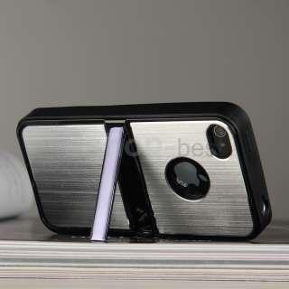 4G 4S Silver Aluminum TPU Hard Case Cover W/Chrome Stand+Free Pen&Film