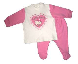 NEW Hello Kitty Baby Embroidered Heart 2pc Outfit 1M/3M