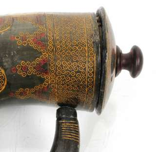 ANTIQUE ARABIC ISLAMIC INDIA INDIAN INLAID POWDER HORN FLASK MUGHAL