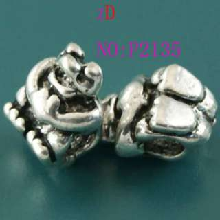 P2135 2pc Cute Tibetan Silver Spacer Beads Frog Pendant
