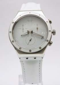 New Swatch Irony Chrono Women White Sun Leather Oversize Watch 40mm