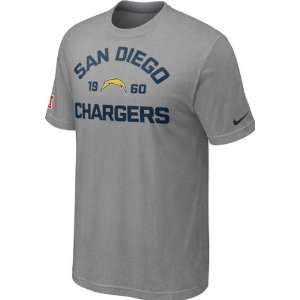 San Diego Chargers Heathered Grey Nike Arch T Shirt