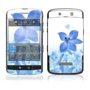 BlackBerry Storm 9530 Vinyl Decal Skin   Blue Neon Flower