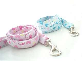 Kitty Pet Dog Collar Leash set Pink OR Blue