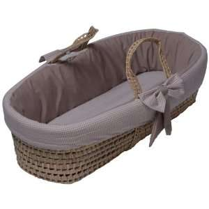 Baby Doll Bedding Gingham Moses Basket, Khaki Baby