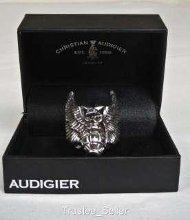 Christian Audigier Men 925 Silver Wings Grenade Ring 10
