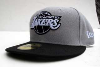 Los Angeles Lakers Grey Black All Sz Cap Hat by New Era