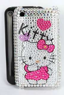 Fit apple iphone 3G 3GS heart hello kitty diamante bling case diamond