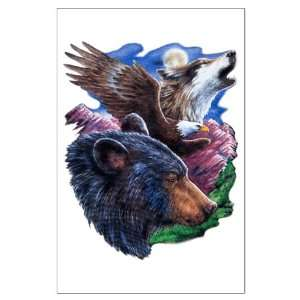 Large Poster Bear Bald Eagle and Wolf: Everything Else