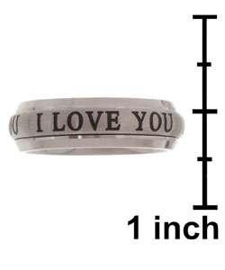 Titanium I LOVE YOU Spinner Ring  Overstock