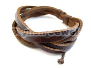 Braided Tribal Men Women Dark Brown Leather Bracelet   Select Style