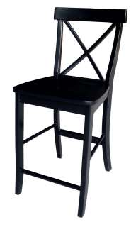 24H Sea X Back Couner Heigh Sool Dining Room Chair   Black Solid