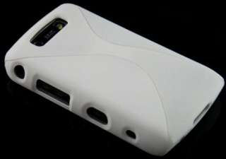 WHITE 2 PIECE RUBBER FEEL TWISTED HARD PLASTIC CASE FOR BLACKBERRY
