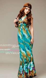 Womens Bohemia Halter Summer Long Beach Dress Maxi Skirt #0004
