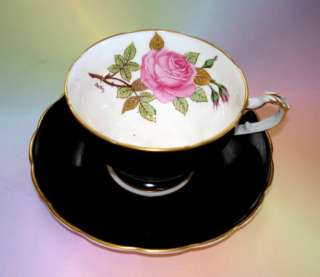 Black Crown Staffordshire Pink Rose Austin Tea Cup and Saucer Set