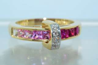 54CT PRINCESS CUT RUBY,PINK SAPPHIRE & DIAMOND RING 10K YELLOW GOLD