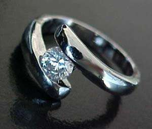 carat CZ Solitaire WHITE GOLD ep Bypass Ring Sz7