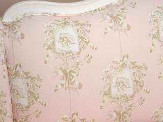 Shabby Cottage Chic White Pink Brown Toile Angel Cherub Sofa Couch