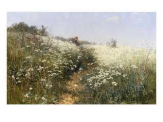 Lady with a Parasol in a Meadow with Cow Parsley, 1881 Giclee Print