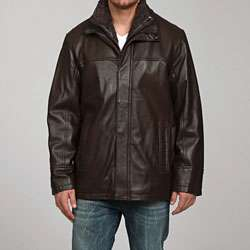 IZOD Mens Brown Lamb Leather Jacket