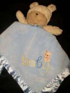 Carters Puppy Dog Baby Lovey Plush Rattle Blue Blanket