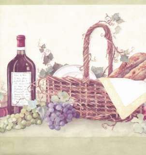 Kitchen on Country Kitchen Grapes Wine Bottle Picnic Basket Wallpaper Border Wall