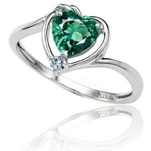 Lab Created Heart Shape Emerald and Diamond Ring(Size4.5) Jewelry