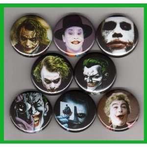 The Joker Batman Heath Ledger Set of 8   1 Inch Buttons