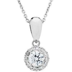0.55 Carat 18kt White Gold Diamond Necklace Jewelry