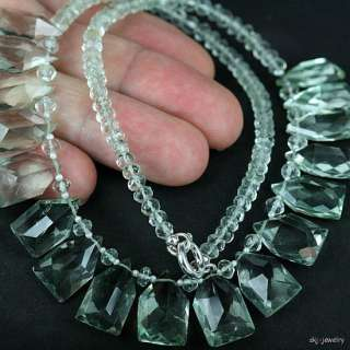 Green Amethyst Gemstone Bead Necklace   Fancy Cut